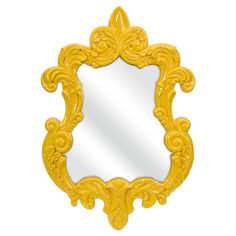Pairing classic design with a bright pop of color, this eye-catching wall mirror showcases an ornate scrolling frame and glossy yellow finish.