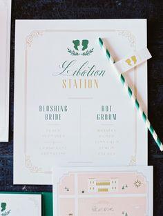 green and pink wedding stationery, photo by Erich McVey http://ruffledblog.com/sierra-madre-wedding #weddinginvitations #papergoods