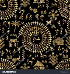 Warli painting seamless pattern - hand drawn traditional the ancient tribal art India. Rudimentary Technique depicting rural life of the inhabitants of India. Gold on a black background Worli Painting, Texture Painting On Canvas, India Painting, Madhubani Art, Madhubani Painting, Black Background Painting, Pottery Painting Designs, Mural Wall Art, Murals