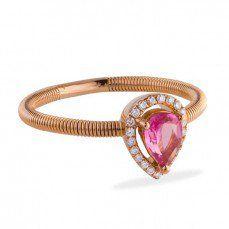 Anel de Ouro Rosê com Turmalina Rosa e Diamantes