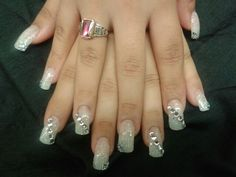 Model: Maria, Nail tech: Misty Hosni (myself), acrylic nails with tips and nail art   #nail #art #acrylic #bling #jewels #diamonds #glitter #wedding #prom #polish #homecoming #graduation #formal #long #square