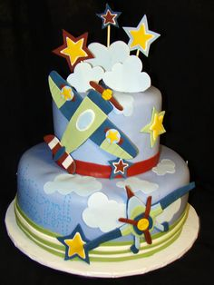 Airplane Cake- so stinking cute! Airplane Baby Shower Cake, Baby Shower Cakes, Airplane Cakes, Airplane Party, Airplane Kids, Fancy Cakes, Cute Cakes, Planes Cake, Planes Birthday