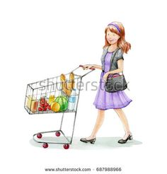 Young women shopping at the grocery store.Watercolor illustration. Hand drawn.