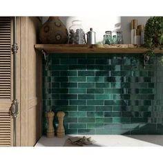 I actually love this subway tile.even though it's subway tile Ceramic Mosaic Tile, Ceramic Subway Tile, Glass Subway Tile, Glazed Ceramic, Modern Farmhouse Kitchens, Farmhouse Style Kitchen, Black Kitchens, Green Subway Tile, Green Tiles