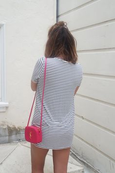 LEO WITH CANCER : Striped T-Shirt Dress and Pink YSL Camera Bag