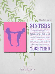 twin girls room decor sisters wall art for 2 por WillowLanePrints