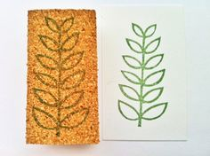 leaf hand carved rubber stamp handmade rubber by talktothesun, $11.00