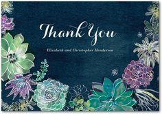 Splendid Succulent - Signature White Thank You Cards in Walnut or Eggshell | Petite Alma