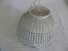 vintage, antique large  white wicker lamp shade , light fixture scalloped edge