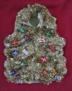 Ugly Christmas Sweater Party Vest Tons of Garland and wrapped gifts Bling o Rama Sparkly Pizazz large