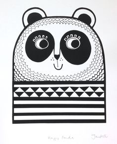 Happy Panda Screen Print by Jane Foster retro geometric hand pulled, signed