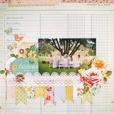 Layout: Celebrate Today love the idea to scrap over a page that you have used to plan a party Wedding Scrapbook, Scrapbook Paper Crafts, Scrapbook Supplies, Scrapbook Cards, Scrapbooking Ideas, Paper Crafting, Scrapbook Photos, Crate Paper, Scrapbook Sketches