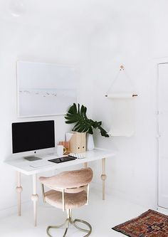Simple home office with a DIY IKEA desk