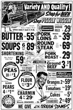 I've always liked Piggly-Wiggly ads (great name for a grocery store. Old Advertisements, Retro Advertising, Retro Ads, 1950s Ads, 1960s, Vintage Newspaper, Vintage Ads, Vintage Posters, Vintage Food