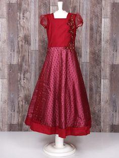Maroon Net Wedding Gown, lehenga gown, indian fashion, girls indian fashion, girls lehenga gown, designer, kids indian fashion, kids fashion, girls fashon, girls wear