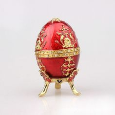 Exhibition Europe Totem Faberge Easter Egg Trinket Box Figurine Flower Pattern Decor Vintage Retro Russia Egg Magnet Craft