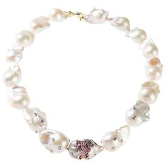 Stambolian Baroque Pearl Pink Sapphire Gold Rondel Necklace | From a unique collection of vintage more necklaces at https://www.1stdibs.com/jewelry/necklaces/more-necklaces/