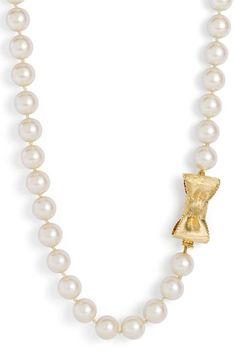 I love a good strand of pearls kate spade new york 'all wrapped up' glass pearl long necklace available at Girls Accessories, Jewelry Accessories, Fashion Accessories, Pearl Jewelry, Jewelry Box, Jewelry Making, Jewelry Necklaces, Pearl And Lace, Necklace Designs