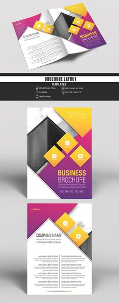 Brochure Cover Layout with Pink and Yellow Accents 1. Buy this stock template and explore similar templates at Adobe Stock  #Brochure #Business #Proposal #Booklet #Flyer #Template #Design #Layout #Cover #Book #Booklet #A4 #Annual #Report| Brochure template | Brochure design template | Flyers | Template | Brochures | Flyer Background | Background design | Business Proposal | Proposal Design | Booklet | Professional | Professional - Proposal - Brochure - Template