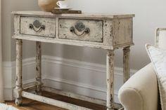 meubles-vintage-console-bois-patinée-peinture-blanche