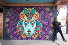 Amazing Aztec-Inspired Street Art Mural by Rilke Guillen