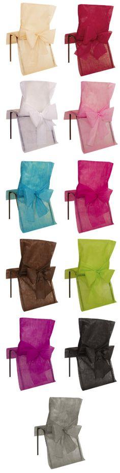 Le lot de 10 Housses de Chaise avec Noeud existe en plus de 10 coloris différents. Les housses sont adaptables aux différents types de chaises grâce à son noeud de fixation.