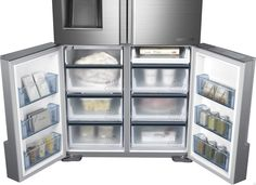 Samsung RF34H9960S4 34.3 cu. ft. French Door Refrigerator with 4 Spillproof Glass Shelves, 4-Door Flex, Triple Cooling Chef Mode, Automatic Sparkling Water Dispenser, Fridge in Freezer, 4 Pillar High Efficiency Lighting and Energy Star Qualified