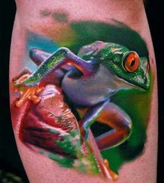 30 Delightful Frog Tattoos That Will Leave You Hopping With Joy Frogs are great material for tattoo designs. In the world today there are over. Amazing 3d Tattoos, Weird Tattoos, Body Art Tattoos, Cool Tattoos, Tatoos, Wicked Tattoos, Portrait Tattoos, Sleeve Tattoos, Home Tattoo