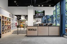 Two level bike rental and retail store renovation in Vancouver, BC. Interior design and architecture by Skladan Design. Construction by Pacific Solutions Contracting. Bicycle Cafe, Bicycle Garage, Bicycle Store, Showroom Interior Design, Commercial Interior Design, Commercial Interiors, Shops, Retail Store Design, Choppers