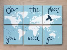come+fly+with+me.+world+map+with+airplane.+6+12x12+by+sincerelyYOU,+$124.00