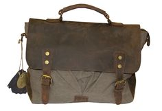 Jesslyn Blake Canvas   Leather DARYL Flapover Messenger Bag -  LuggagePlanet.com Norwalk Luggage. This is a beatiful bag at a great price 9dba353bd170a