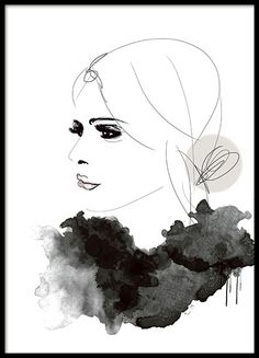 Fashion poster in gray tones with a woman in profile.