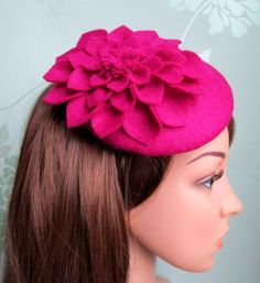 Hey, I found this really awesome Etsy listing at https://www.etsy.com/listing/126899267/pink-felt-hat-dahlia-flower-pink