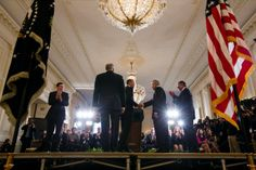 President Barack Obama shakes hands with former Sen. Chuck Hagel in the East Room of the White House, Jan. 7, 2013. The President nominated Sen. Hagel for Secretary of Defense.