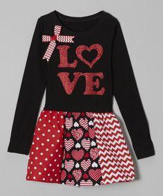 Loving this Beary Basics Black & Red 'Love' Libby Ann Dress - Toddler & Girls on #zulily! #zulilyfinds