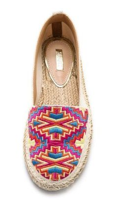 Colorful embroidery adds bohemian charm to casual canvas espadrilles Espadrilles, Shoe Boots, Shoes Sandals, Shoe Bag, Cute Shoes, Me Too Shoes, Keds, Ballerinas, Kinds Of Shoes