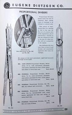 Vintage Eugene Dietzgen Co Federal 986 Proportional Divider Drafting Tool | eBay