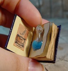 EV Miniatures: Miniature Open Books and Hidden Potion Books, I'm pinning this to crafty; but this is seriously miniature art! -- Why miniature when I could do this with a regular-sized book to use as a prop? Bottle Charms, Glass Bottle, Potion Bottle, Open Book, Miniture Things, Altered Books, Dollhouse Miniatures, Halloween Miniatures, Perfume Bottles