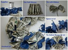 DIY Tutorial DIY Arts & Crafts / How to make an easy peasy money lei for graduates - Bead&Cord Money Lei, Money Origami, Money Cake, Diy Graduation Gifts, Graduation Leis, Graduation Cupcakes, Graduation Decorations, Diy Arts And Crafts, Paper Crafts