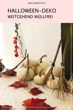 Die Deko zum letzten Oktobertag geht auch ohne Müll und Plastikkram aus China.  Kürbisse, Blätter, Äste.... viele Ideen rund um eine gruselige Party mit wenig Müll