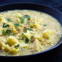 Saffron Potato Leek Soup with Fried Garlic & Almonds