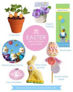 A Round-Up of fun Easter Crafts & Free Printables via LivingLocurto.com