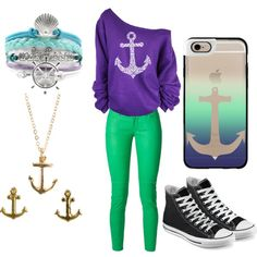 Modern day Ariel by angelica-infinity on Polyvore featuring polyvore fashion style MICHAEL Michael Kors Converse Rachael Ryen Dogeared Casetify modern