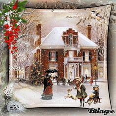 Mary Christmas .Vintage winter Scene