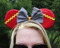 Dumbo Ears elephant mouse ears gray red yellow rick rack disney trip vacation Minnie Mouse ears Dumbo headband ears on Etsy, $25.00