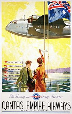 Vintage Planes Qantas Empire Airways (poster by Walter Jardine - Poster Ads, Advertising Poster, Vintage Advertisements, Vintage Ads, Graphics Vintage, Vintage Designs, Retro Airline, Vintage Airline, Travel Ads