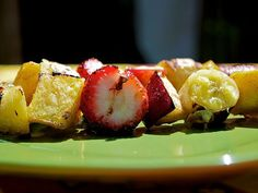 Carmelized on the grill with a honey-cinnamon syrup, these fruit kabobs travel well and boast flavors popular with both kids and adults.