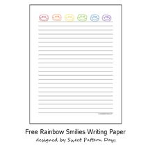 Free Printable Rainbow Smiley Faces Writing Paper