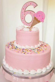 Beautiful Ice cream cone cake topper This beautiful cake topper is approximately and is made with high quality cardstock and glitter cardstock. Please leave me a note at checkout with the age you would like on your cake topper. Ice Cream Cone Cake, Ice Cream Theme, Ice Cream Party, Cream Cake, Ice Cream Birthday Cake, Little Girl Birthday Cakes, 6th Birthday Cakes, Birthday Cake Toppers, Birthday Ideas