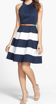 Love this navy striped fit & flare dress http://rstyle.me/n/hwpzmnyg6